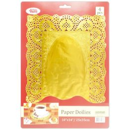 96 Units of 4 Count Doilies Gold - Placemats and Doilies