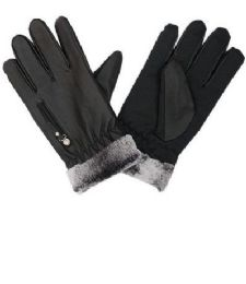72 Units of Men Leather Glove With Fur Cuff - Ski Gloves