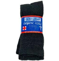 24 Units of Black Diabetic Crew Socks 10-13 - Men's Diabetic Socks