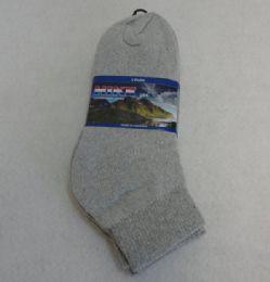 60 Units of 3pr Gray Ankle Socks 9-11 [HIKE] - Boys Ankle Sock