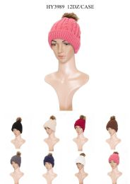 24 Units of Ladies Hat With Pom Pom Assorted Colors - Fashion Winter Hats