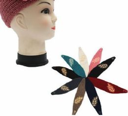 36 Units of Womens Knit Headband With Leaf Detail - Ear Warmers