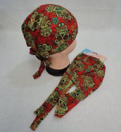 96 Units of Skull Cap-Sugar Skull [Red] - Bandanas