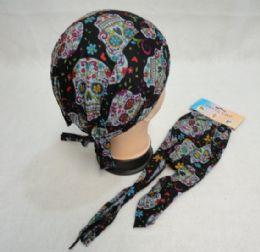 96 Units of Skull Cap-Sugar Skull [Black] - Bandanas