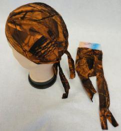 96 Units of Skull Cap-Orange Hardwood Camo - Bandanas