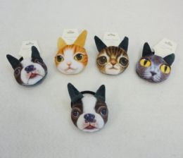 96 Units of Plush Puppy/Kitty Hair Bands - PonyTail Holders