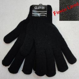 36 Units of Men's Black FleecE-Lined Gloves - Fleece Gloves