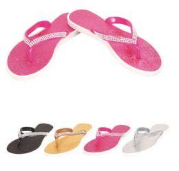 48 Units of Ladies Flip Flops--Rhinestones - Women's Flip Flops