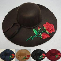 24 Units of Ladies Felt Winter Hat W Ribbon [xl Brim] Rose Applique - Fashion Winter Hats