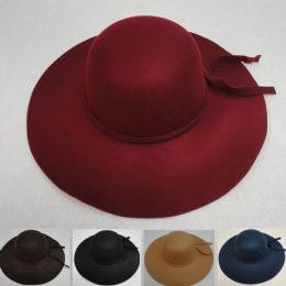 24 Units of Ladies Felt Winter Hat W Ribbon [large Brim] - Fashion Winter Hats
