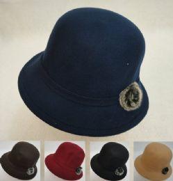 24 Units of Ladies Felt Cloche Hat With Fur - Fashion Winter Hats