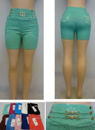 24 Units of Ladies Fashion Stretch Shorts [Lace Design] - Womens Shorts