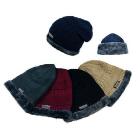36 Units of Insulated Knitted Slouch Beanie with Plush Lining [MultiStitch]