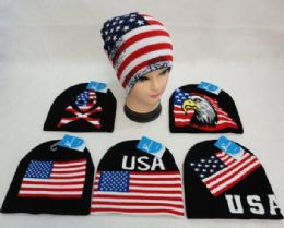 48 Units of Knitted Beanie [USA/Flag Assortment]