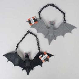 48 Units of Bat Black Or Grey Hanging W/ Chain Halloween Ht - Halloween & Thanksgiving