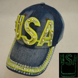 18 Units of Denim Hat With Bling *glow In The Dark [usa] - Hats With Sayings