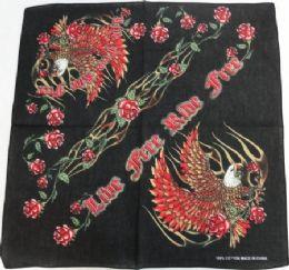 144 Units of Bandana-RIDE FREE [Eagle/Roses] - Bandanas