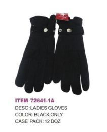 72 Units of Women's Black Color Winter Glove - Knitted Stretch Gloves