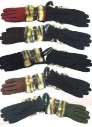 72 Units of Women's Glove With Faux Fur 72 Pair - Knitted Stretch Gloves