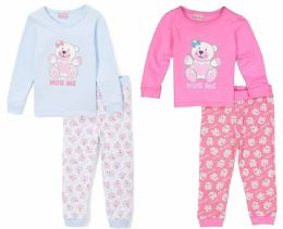 "24 Units of Toddler Girls ""hug Me"" Pajama Sets - Solid Colors - Sizes 2-4t - Toddler Girl PJ's"