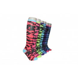 240 Units of Ladies Camo Print Neon Color Knee Highs - Womens Knee Highs