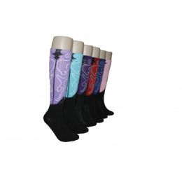 240 Units of Ladies Fashion Printed Knee High - Womens Knee Highs