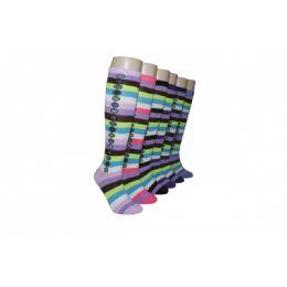 240 Units of Ladies Fashion Striped Knee High Socks - Womens Knee Highs