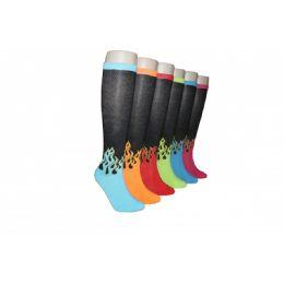 240 Units of Ladies Neon Flames Fashion Knee High Socks - Womens Knee Highs