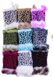 36 Units of Women's Animal Print Finger less Fur Glove - Knitted Stretch Gloves