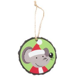 96 Units of Ornament Resin 3in Diameter Mouse - Christmas Ornament