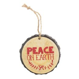 96 Units of Ornament Resin 3in Diameter Peace On Earth - Christmas Ornament