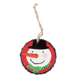 96 Units of Ornament Resin 3in Diameter Snowman - Christmas Ornament