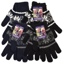 36 Units of Snow Flake Knit Glove Assorted Black And Gray Color - Knitted Stretch Gloves