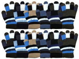 72 Units of WINTER Kids Magic Glove Stripes Assorted Colors - Kids Winter Gloves