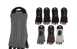 72 Units of Womens Fashion Fingerless Cotton Glove Hand Warmer - Knitted Stretch Gloves