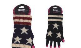 72 Units of Womens Fashion Fingerless Usa Star Print Cotton Glove Hand Warmer - Arm & Leg Warmers