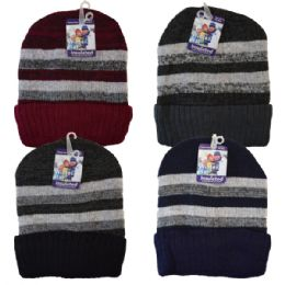 48 Units of Winter Knit Hat Stripes - Fashion Winter Hats