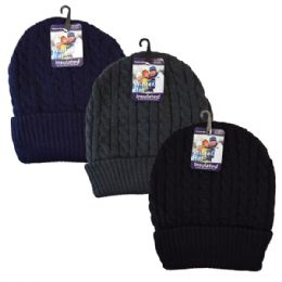 48 Units of Winter Knit Hat Dark Colors Cable Knit - Fashion Winter Hats