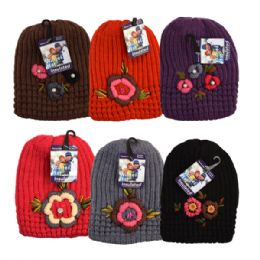 48 Units of Womens Winter Knit Hat With Floral Rhinestones - Fashion Winter Hats