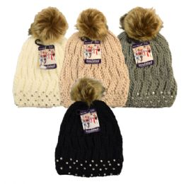 24 Units of Winter Pom Pom Hat With Rhinestones Assorted Colors - Winter Beanie Hats