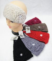 36 Units of Warm Winter Ear Warmers With Big Flower - Ear Warmers