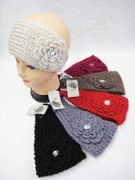 36 Units of Warm Winter Ear Warmers With Big Flower And Rhinestone - Ear Warmers