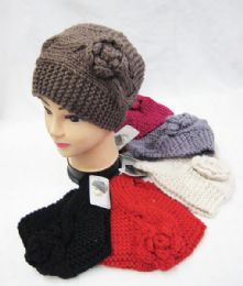 36 Units of Warm Winter Knitted Rose Beanie Hat - Winter Hats