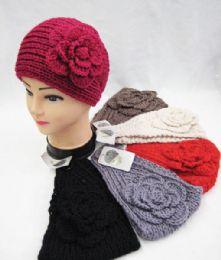 36 Units of Warm Winter Extra Wide Ear Warmers With Big Flower - Ear Warmers