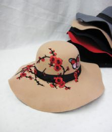 36 Units of Womens Fashion Winter Hat Floral With Butterflies - Fashion Winter Hats