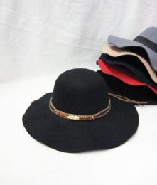 36 Units of Womens Fashion Winter Hat With Gold Strap - Fashion Winter Hats