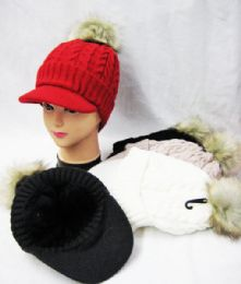 36 Units of Womens Fashion Winter Cap With Pom Pom Assorted Colors - Fashion Winter Hats