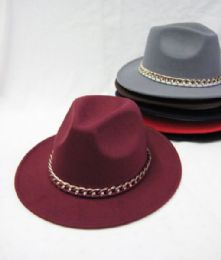 36 Units of Womens Fashion Winter Hat With Gold Chain Assorted Colors - Fashion Winter Hats