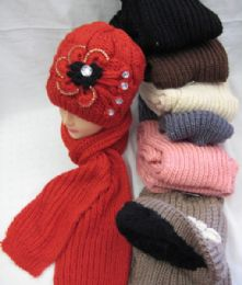 24 Units of Womens Fashion Winter Hat And Scarf Set With Flower - Winter Sets Scarves , Hats & Gloves