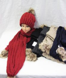 12 Units of Womens Winter Warm Hat And Scarf Set With Pom Pom - Winter Sets Scarves , Hats & Gloves